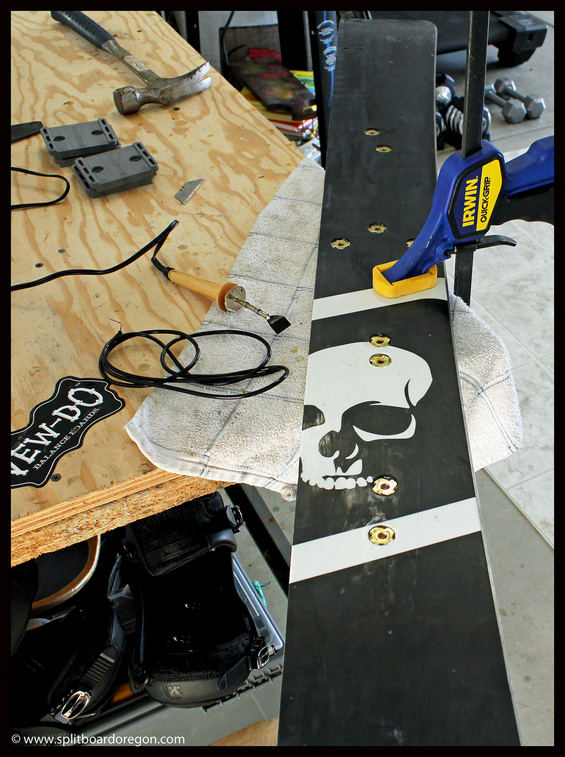 Board half with t-nuts in place