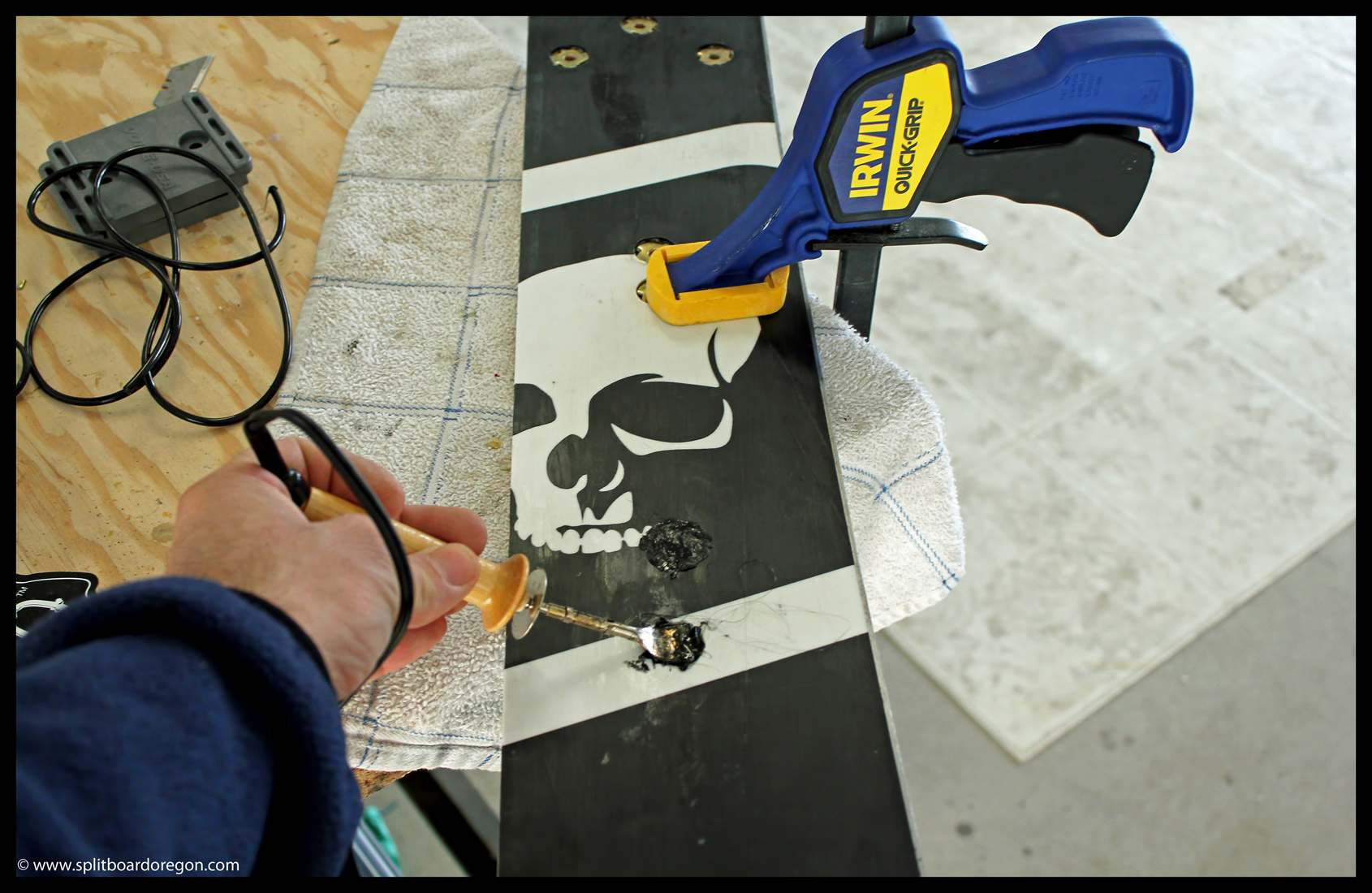 Filling the base holes with p-tex