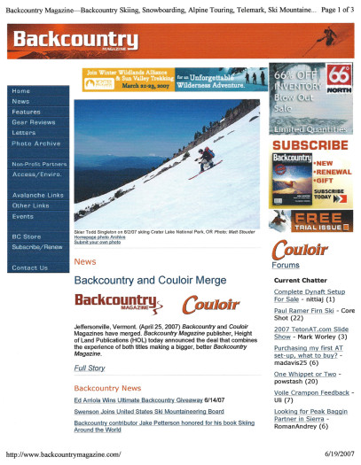June 2007 -  Backcountry Magazine