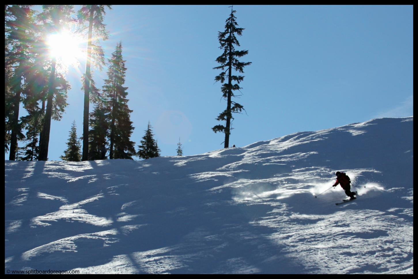 Simon skiing the bumps on Escalator
