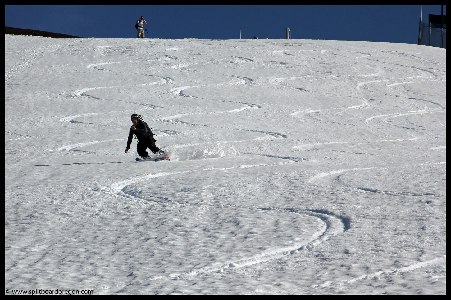 Andy cranking turns on the snow blades