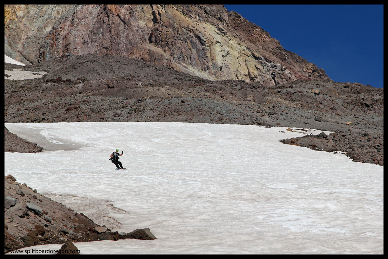 Enjoying summer turns on the Zigzag snowfield