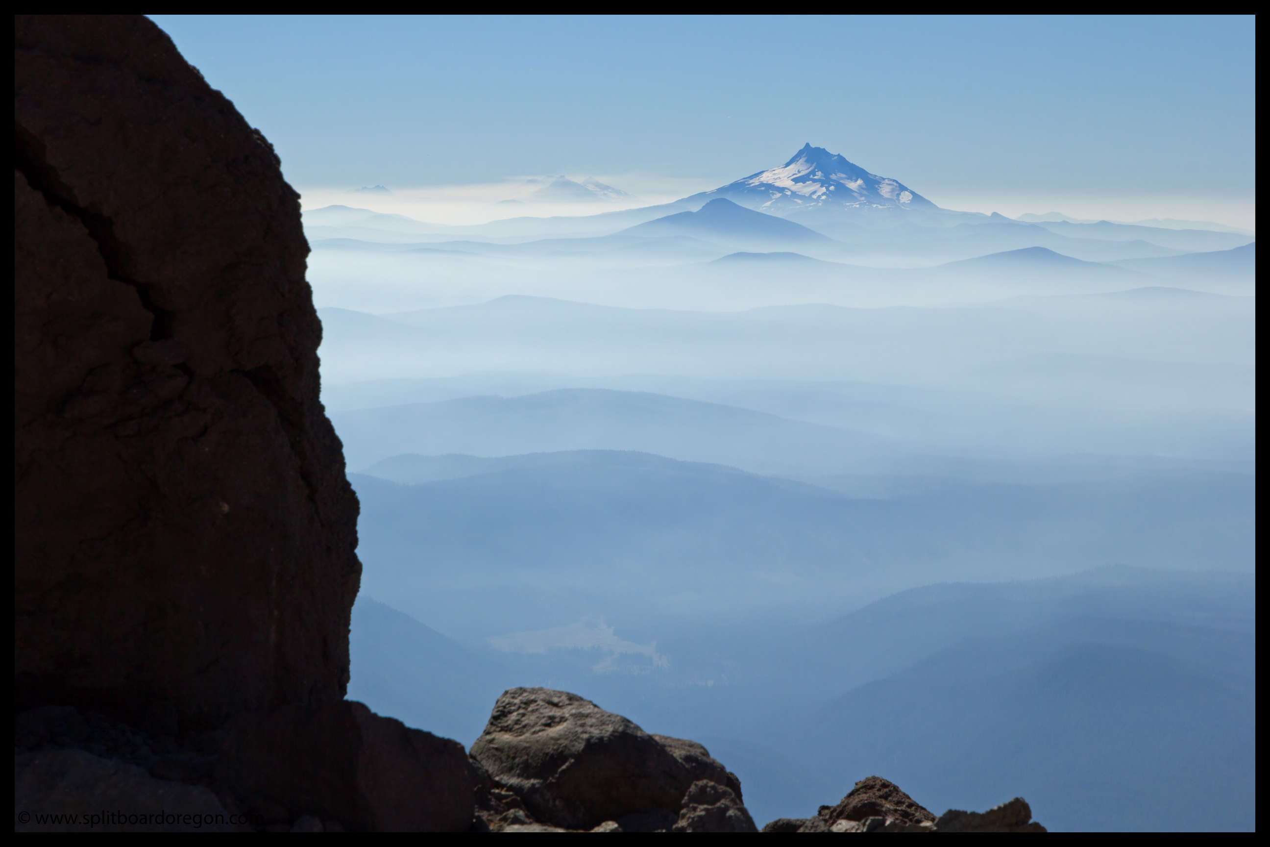 Central Oregon volcanoes through the smoke and haze