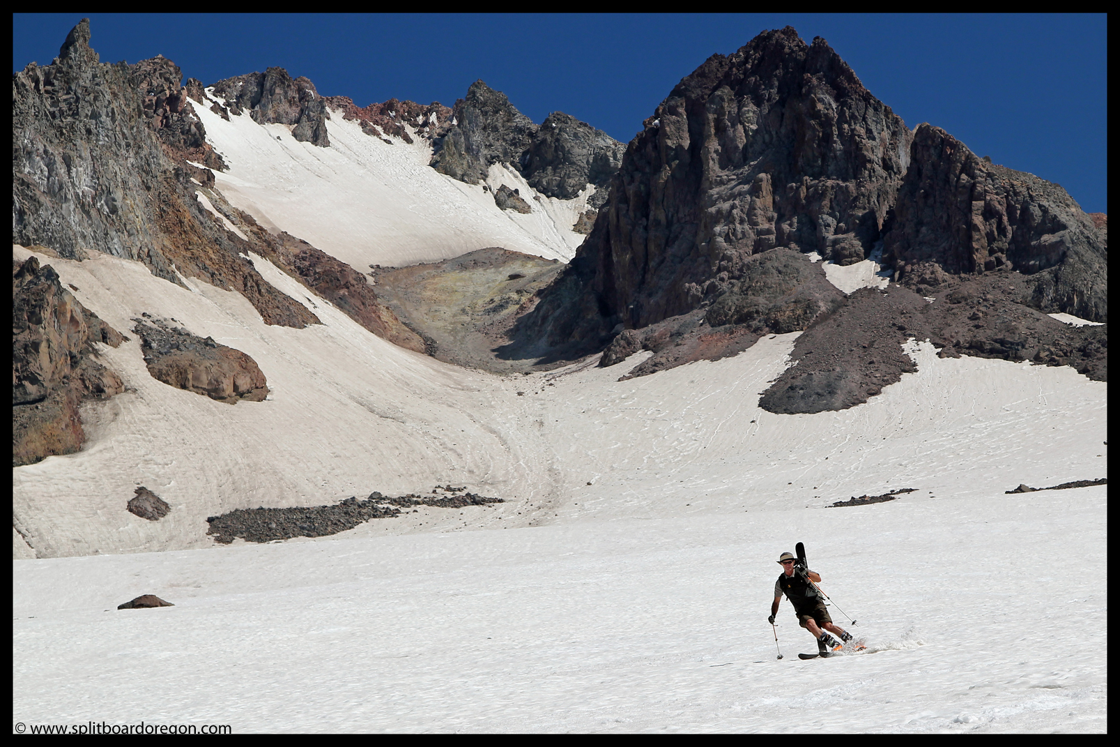 Ron skiing below Crater Rock