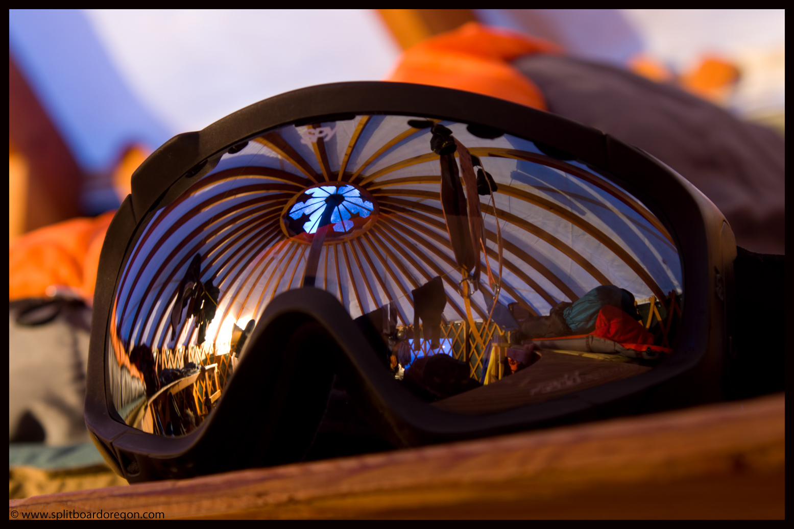 The hut reflecting in my goggles on our last evening