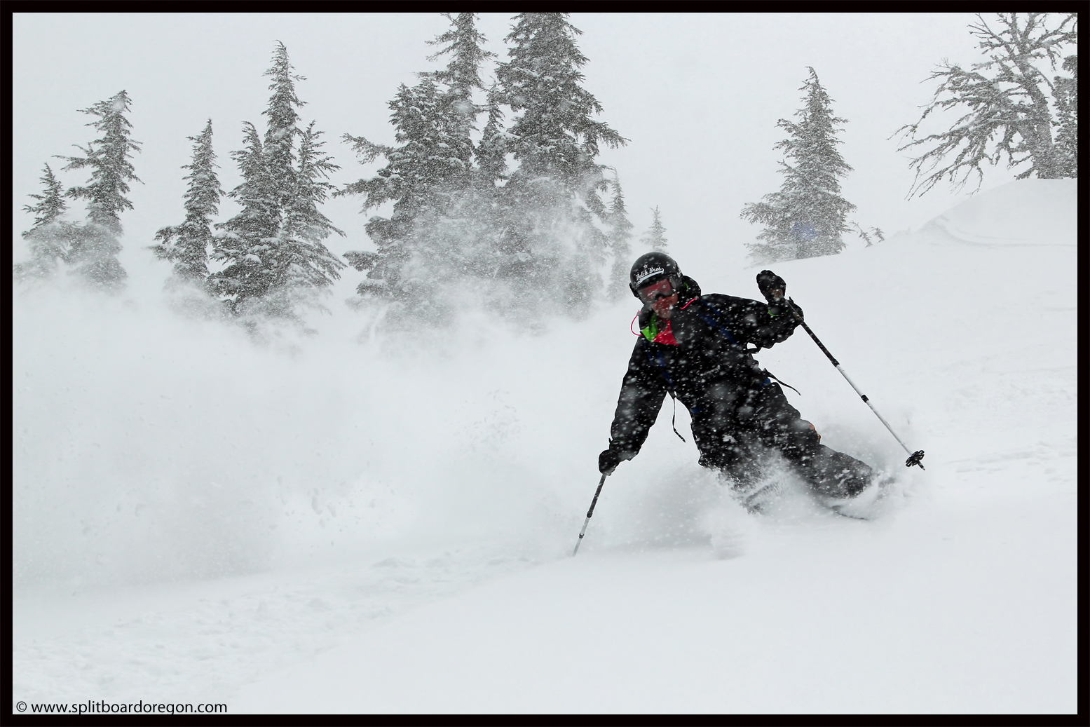 Andy enjoying the fresh pow!