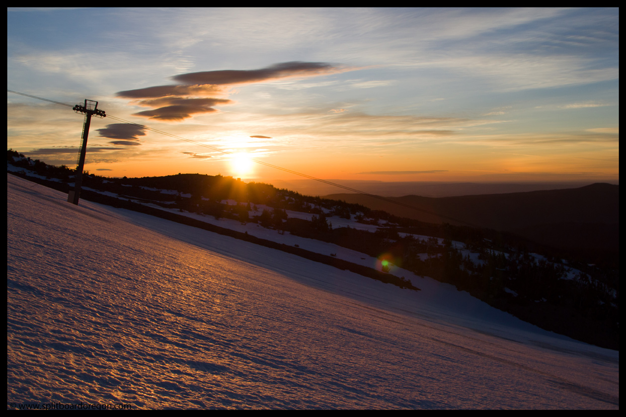 Sunrise over the Cascade chairlift