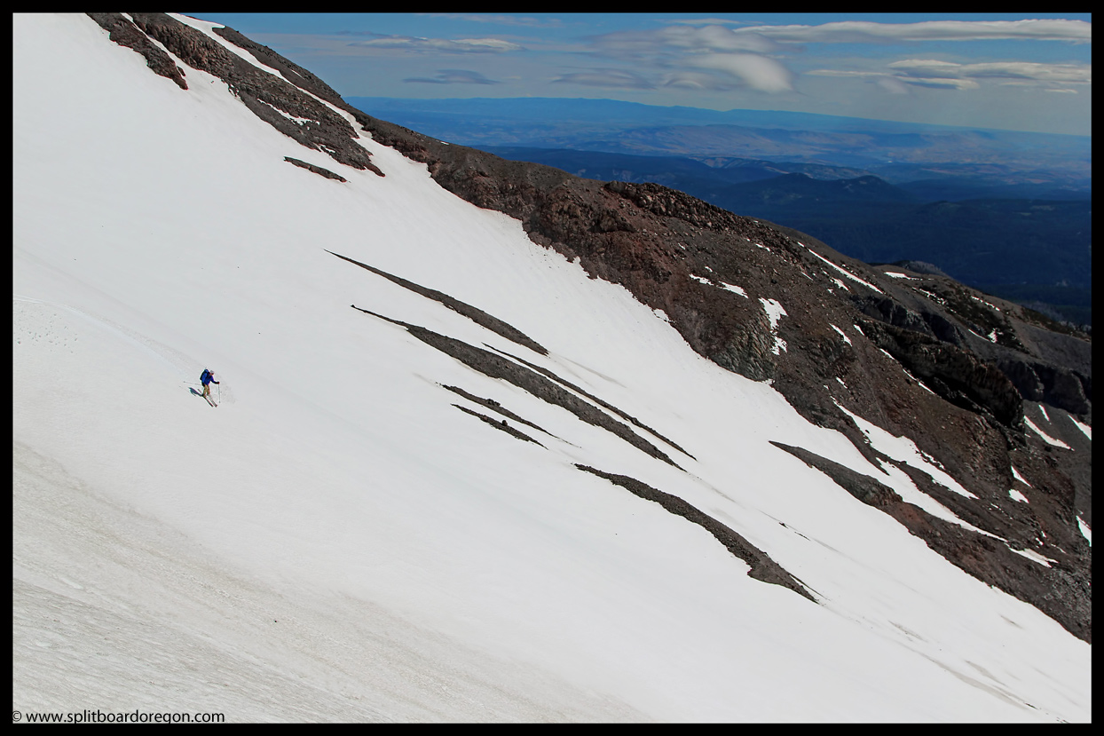 Skiing above Heather Canyon on Mt Hood
