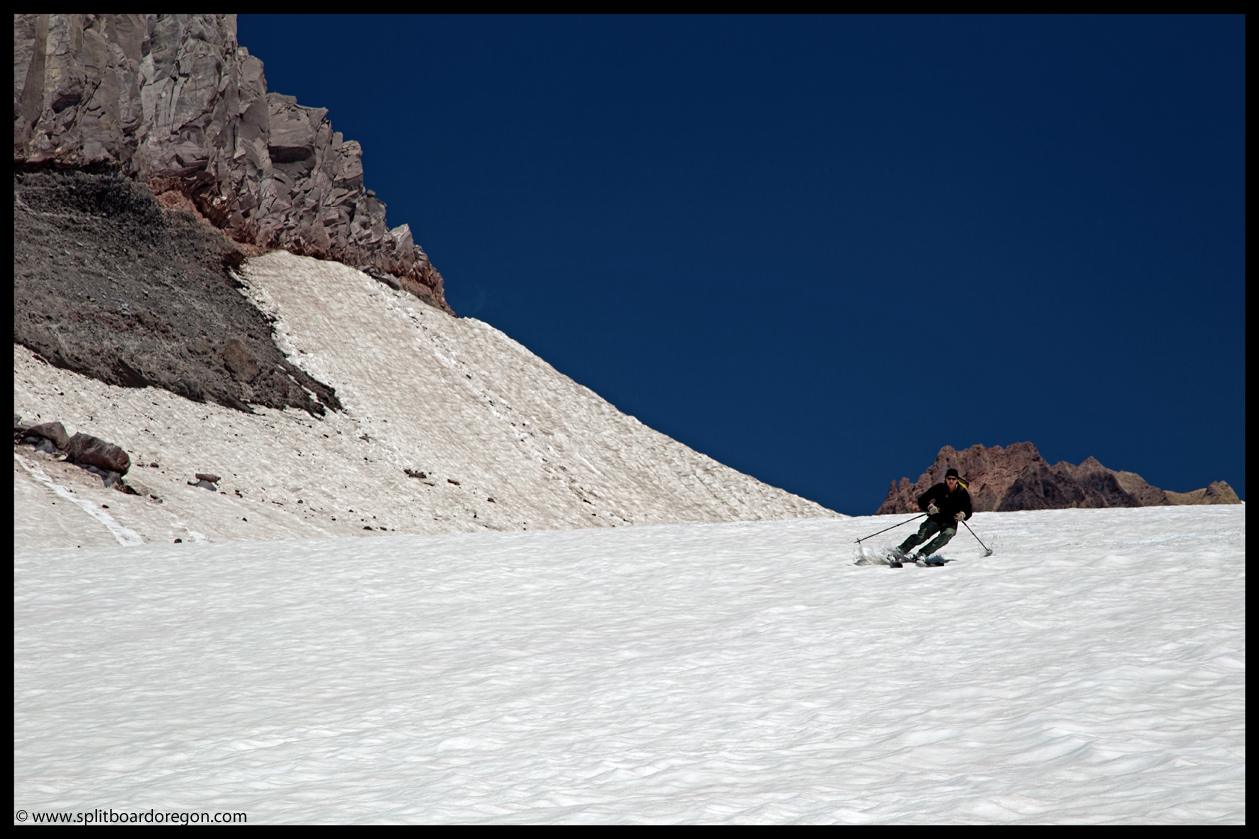 Dan skiing below the Saddle