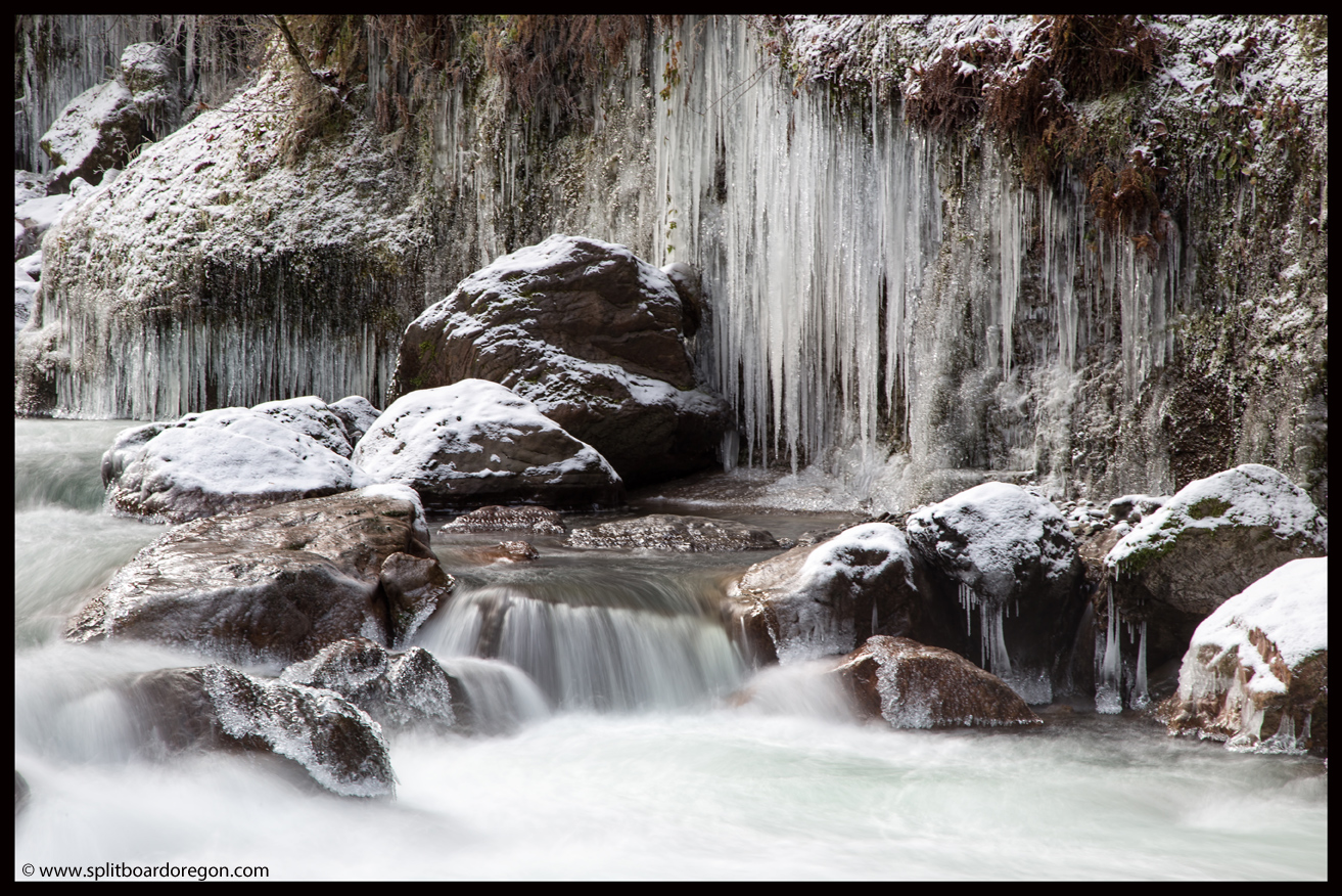 Icicles along the riverbank