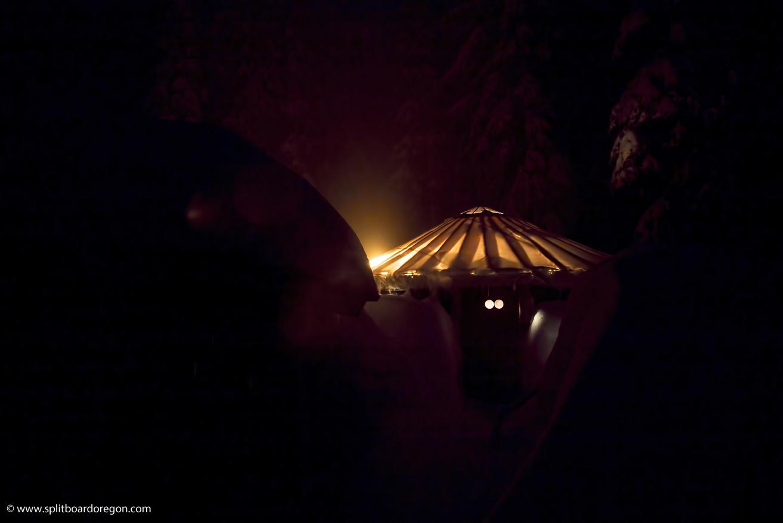 The Owl yurt at night
