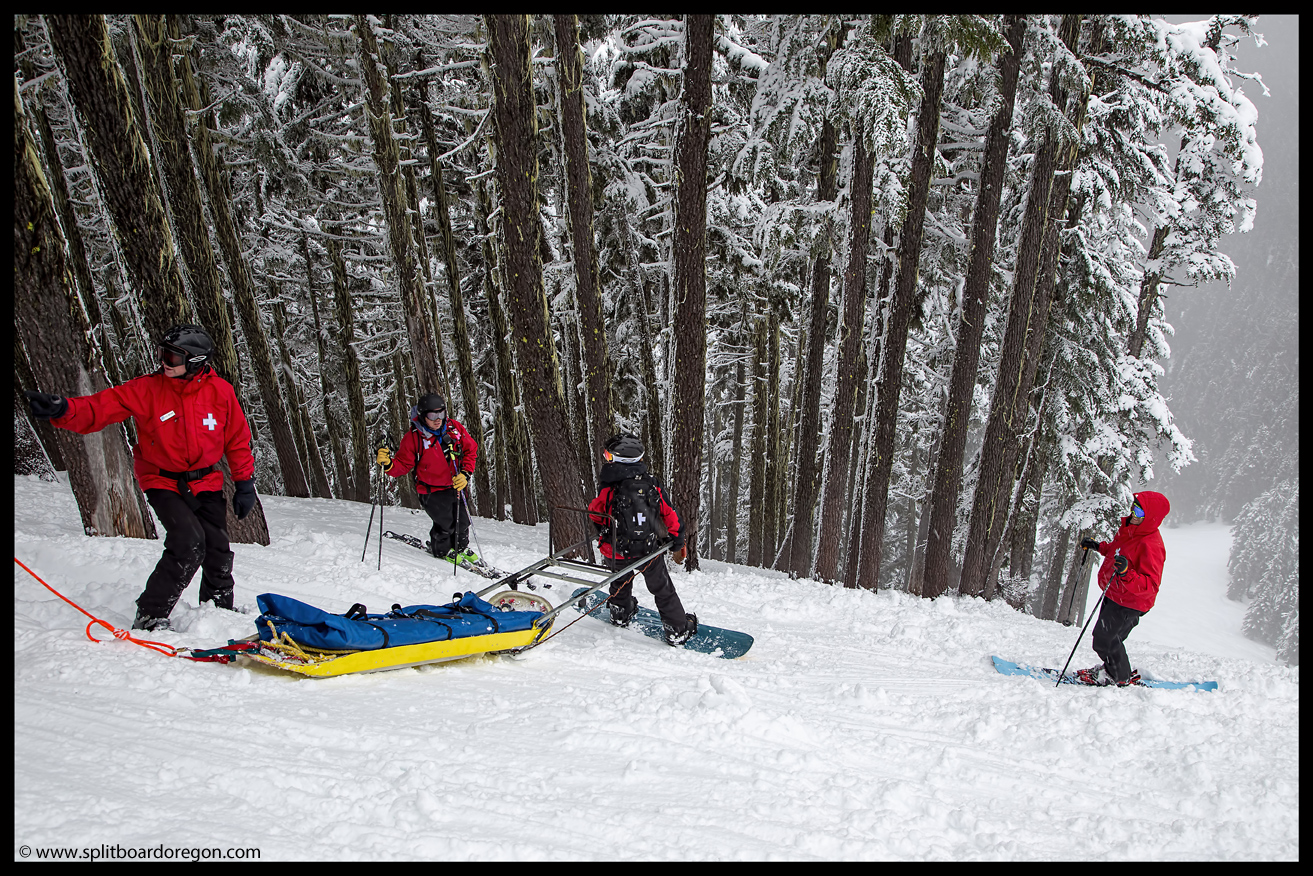 Setting up the sled and belay