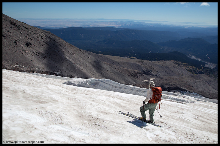Skiing above the crevasses