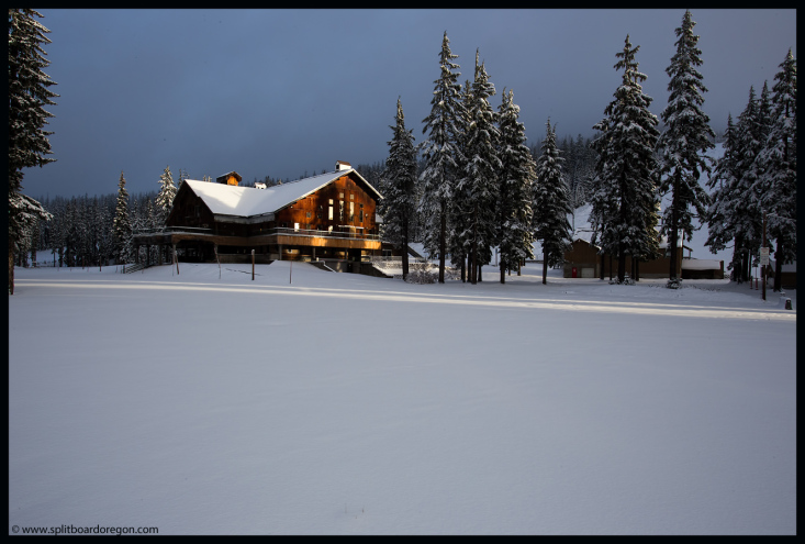 Morning light on the lodge