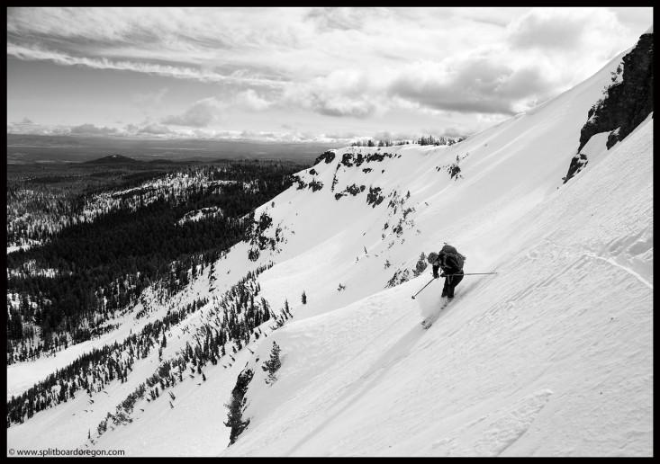 Dan skiing below the Prow