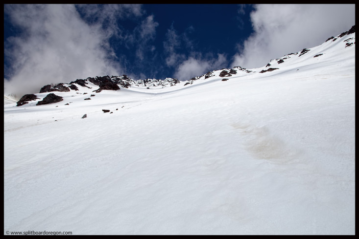 Looking back up the headwall