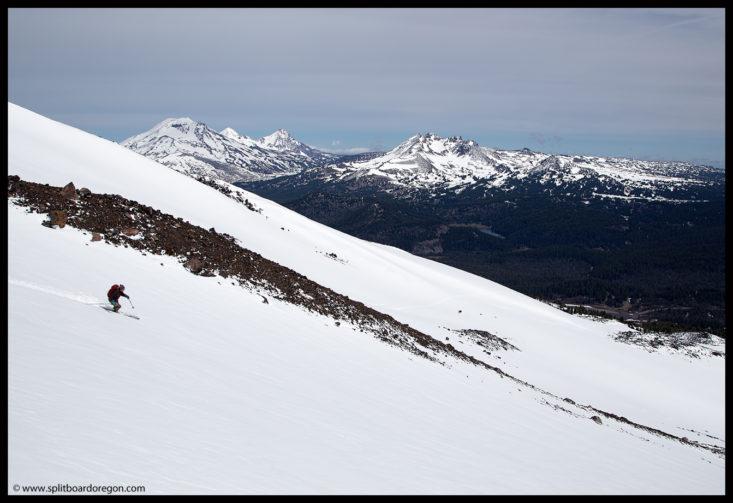 Dan skiing in front of Broken Top